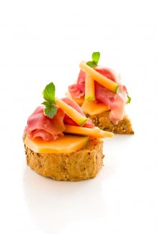 toasts melon + jambon